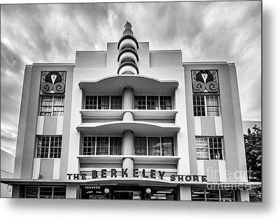 Berkeley Shores Hotel  2 - South Beach - Miami - Florida - Black And White Metal Print by Ian Monk