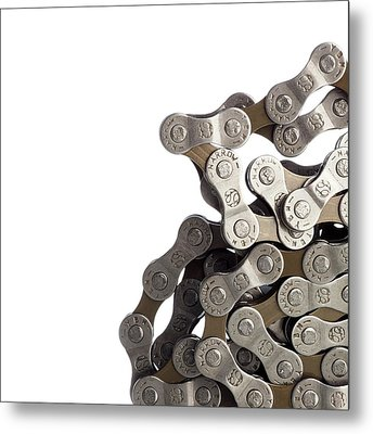 Bicycle Chain Coiled Up Metal Print