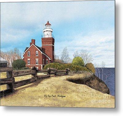 Big Bay Point Lighthouse Titled Metal Print