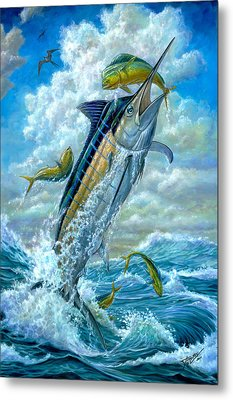 Big Jump Blue Marlin With Mahi Mahi Metal Print by Terry  Fox