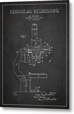 Binocular Microscope Patent Drawing From 1931 Metal Print by Aged Pixel