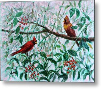 Birds In Our Garden Metal Print