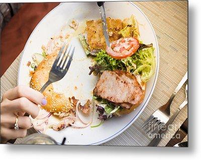 Bistro Patron Halfway Through Chicken Salad Bagel Metal Print by Jorgo Photography - Wall Art Gallery