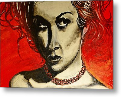 Metal Print featuring the painting Black Portrait 20 by Sandro Ramani