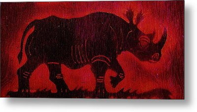 Metal Print featuring the pyrography Black Rhino by Larry Campbell