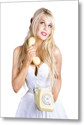 Blond Lady On Old-fashion Telephone Communication Metal Print