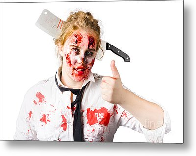 Bloody Woman With Cleaver In Head Metal Print by Jorgo Photography - Wall Art Gallery