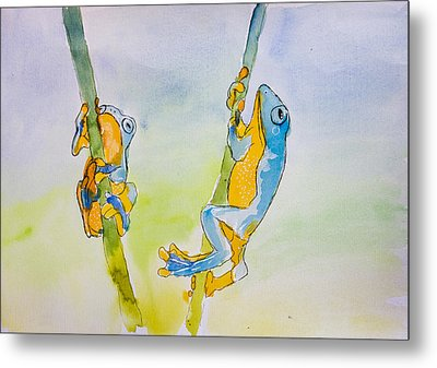 Blue And Orange Tree Frogs Metal Print by Pati Photography