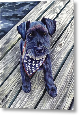 Blue Black Dog On Pier Metal Print