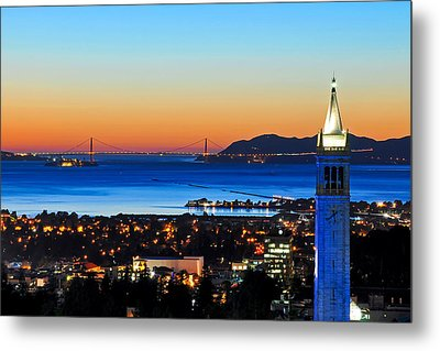 Blue Campanile And Golden Gate At Sunset Metal Print