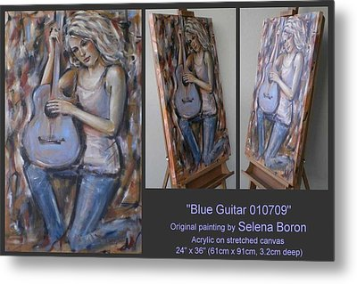 Metal Print featuring the painting Blue Guitar 010709 by Selena Boron