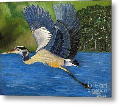 Metal Print featuring the painting Blue Heron In Flight by Brenda Brown