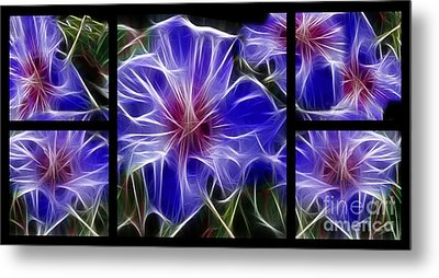 Blue Hibiscus Fractal Metal Print by Peter Piatt