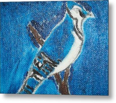 Blue Jay Oil Painting Metal Print