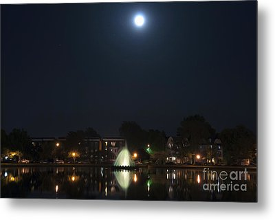 Metal Print featuring the digital art Blue Moon Over Fountain Lake by Kelvin Booker