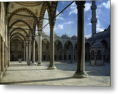 Blue Mosque Courtyard Metal Print by Joan Carroll