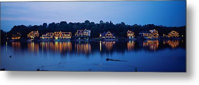 Boathouse Row Lit Up At Dusk Metal Print by Panoramic Images
