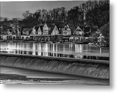 Boathouse Row Bw Metal Print by Susan Candelario