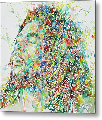 Bob Marley Watercolor Portrait.1 Metal Print