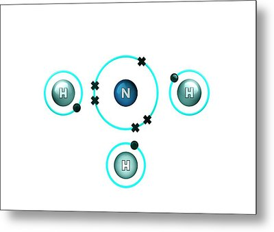 Bond Formation In Ammonia Molecule Metal Print by Animate4.com/science Photo Libary