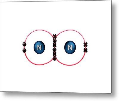 Bond Formation In Nitrogen Molecule Metal Print