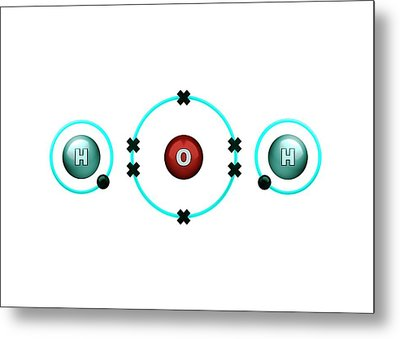 Bond Formation In Water Molecule Metal Print by Animate4.com/science Photo Libary