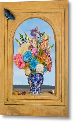 Metal Print featuring the photograph Bosschaert - Flower Bouquet In Chinese Jar by Levin Rodriguez