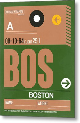 Boston Luggage Poster 1 Metal Print by Naxart Studio