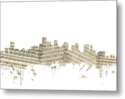 Boston Massachusetts Skyline Sheet Music Cityscape Metal Print by Michael Tompsett