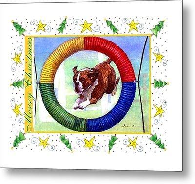 Boxer Dog Christmas Metal Print by Olde Time  Mercantile