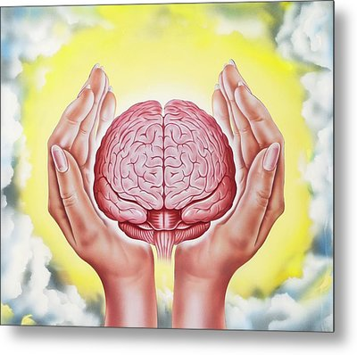 Brain Protection Metal Print
