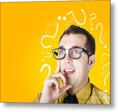 Brainy Man Puzzle Solving On Question Background Metal Print