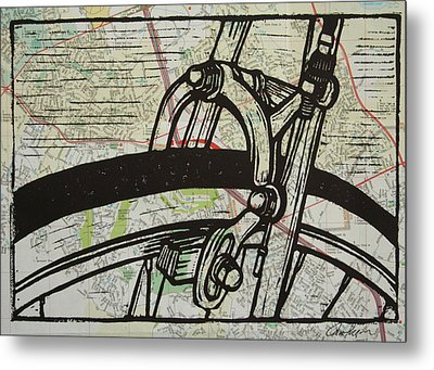 Brake On Map Metal Print