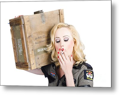 Brave Army Girl Holding Explosive Small Arms Metal Print