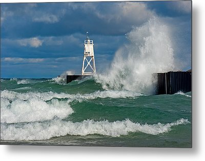 Break Wall Waves Metal Print