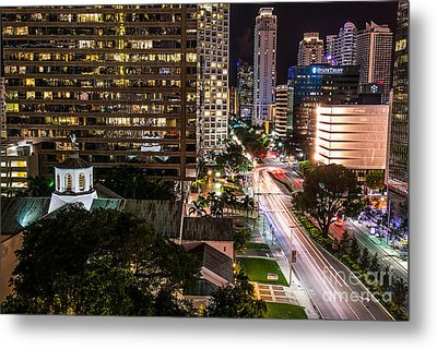 Brickell Ave Downtown Miami  Metal Print by Michael Moriarty