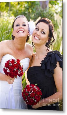 Bride With Maid-of-honor Metal Print by Jorgo Photography - Wall Art Gallery