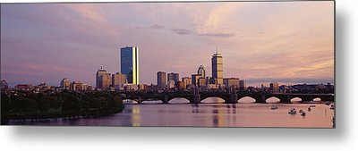 Bridge Across A River With City Metal Print by Panoramic Images