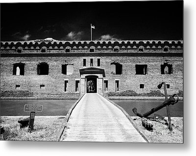 Bridge Across The Moat Sally Port Entrance To Fort Jefferson Dry Tortugas National Park Florida Keys Metal Print by Joe Fox