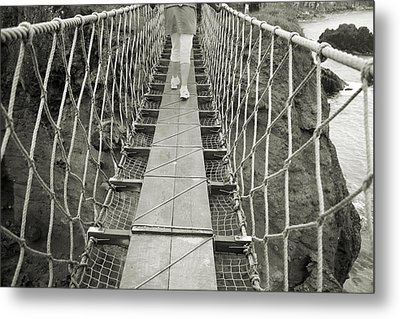 Bridge Walk Carrick-a-rede Northern Ireland Metal Print