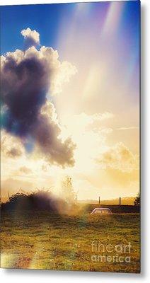 Bright Australian Rural Farm Field Taken Sundown Metal Print