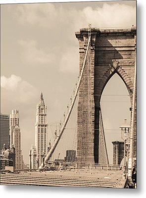 Brooklyn Bridge And Woolworth Building Metal Print