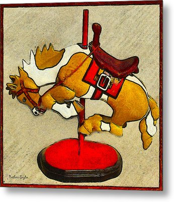 Bucking Bronco Carousel Horse Metal Print by Barbara Snyder and Keith Zimmerman