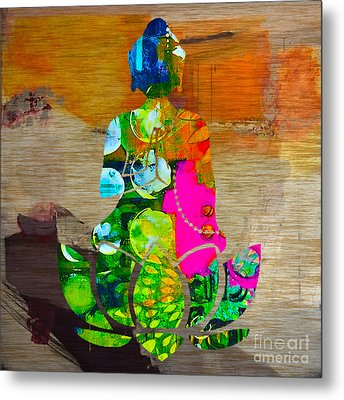Buddah On A Lotus Metal Print by Marvin Blaine