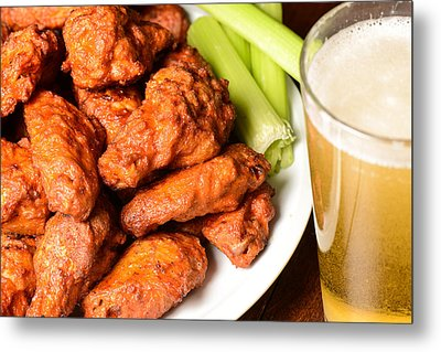 Buffalo Wings With Celery Sticks And Beer Metal Print