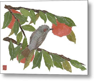 Bulbul And Persimmon  Metal Print by Keiko Suzuki