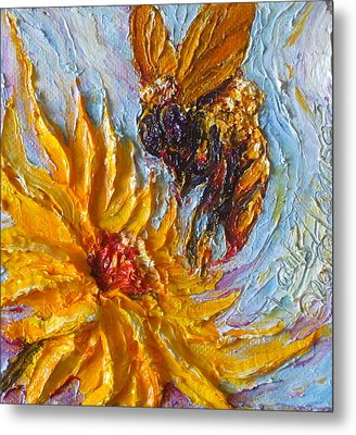Bumble Bee And Yellow Flower Metal Print by Paris Wyatt Llanso