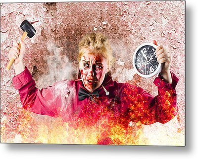 Burning Girl Holding Clock And Hammer. Apocalypse Now Metal Print