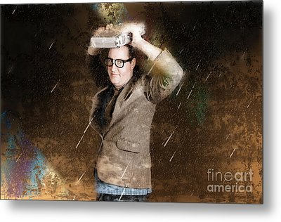 Business Man In Bad Weather Storm. Crisis Concept Metal Print by Jorgo Photography - Wall Art Gallery