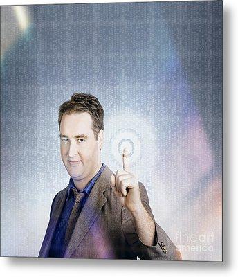 Business Man Pressing Digital Target Touch Screen Metal Print